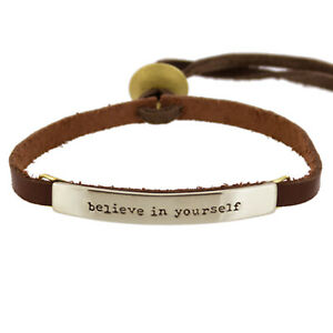 Far Fetched BELIEVE IN YOURSELF Silver BRACELET on Sienna Leather Jewelry BA-115