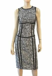 MICHAEL KORS COLLECTION Black White Tweed Leather Trim Pencil Dress 8 NEW