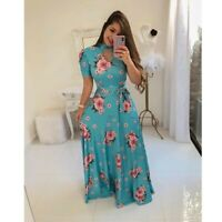 Fashion Women's Boho Floral Short Sleeve Maxi Dresses Casual Ladies Summer Dress