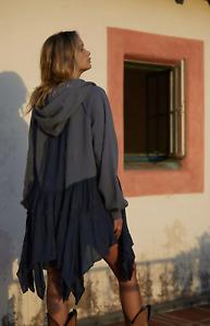 Free People Blue Moon Dust Cardi Zip Up Hoodie Size Large  Sweatshirt in Black