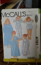 Vtg Mccalls 6781 girls sleepwear robe pjs baby dolls puffed sleeves sz 4 NEW