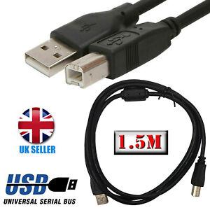 USB Printer Cable 1.5M High Speed V2.0 Type A to Type B PC Lead HP EPSON KODAK