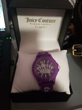 NIB JUICY COUTURE PURPLE CROWN LOGO FACE SILICONE WATCH