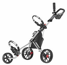 Caddytek 11.5 ALU 3 Rad Golf Push Trolley leichter Caddy Silber Räder schwarz