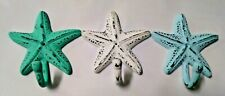 Nautical Beach Ocean Shore Distressed Starfish Towel Coat Wall Hook Cast Iron