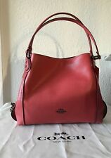 NWT Coach 57125 Polished Pebble Leather Edie 31 Shoulder Bag Washed Red/Dark Gun