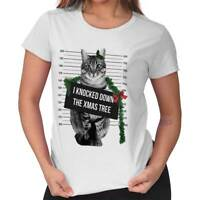 Knock Down Christmas Tree Cat Shirt Funny Kitten XMAS Kitty Ladies Tee Shirt T