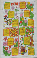 Vintage 1974 Calendar Tea Towel Linen Pink Yellow Green Bee Flower Sun Snowman
