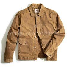 Wax oil jacket Chic Mens Boys Short Vintage Military Khaki Jacket Coat Outwear