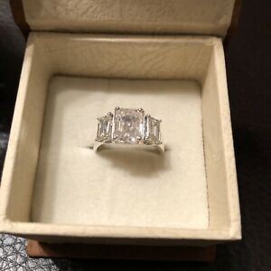 3 Stone Moissanite Ring Emerald Cut 5.15 Ct Double Prongs Solid Sterling Silver