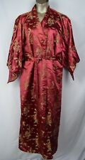 SOLZ SQUIRREL Women's Robe Kimono with Belt Red Vintage Satin