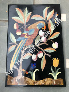 3'x2' Black Marble Dining Table Top Marquetry Inlay Design Living Room Decor