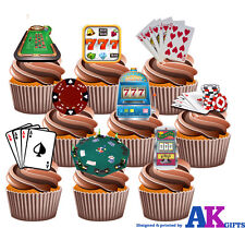 Poker Casino Slots Juego Party Pack - 36 X Comestibles De Oblea Cup Cake Toppers