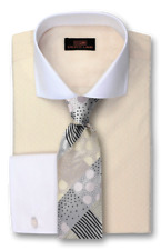 Dress Shirt by Steven Land Classic Fit French Cuff- Cream -DW1730-CR