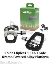 Wellgo R191B 1 Side Clipless SPD & 1 Platform Pedals w/ 98A fit Shimano SH51/ 56