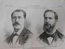 Gravure 1876 - Les victimes de l'assassinat de Salonique M. Moulin & M. Abbot
