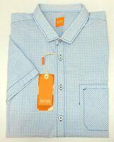 FLAW NWT $95 Hugo Boss Blue Pocket Shirt Mens XL Short Sleeve Button Check NEW