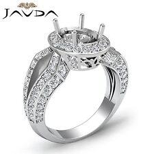 Oval Diamond Engagement Halo 1.38Ct Semi Mount Ring 14k White Gold Split Shank