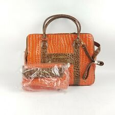 Samantha Brown Croco Embossed Large Dowel Purse Orange/Brown W/Mini Bag