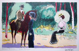 KEES VAN DONGEN Hand Signed 1950 Original Color Lithograph, La rencontre au bois