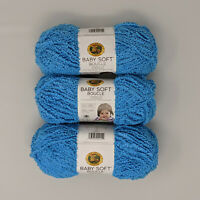 Lion Brand Baby Soft Boucle Aqua 3 Skeins 100g 120yds