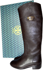 TORY BURCH Joanna Brown Leather Riding Boot Flat Equestrian Bootie 6.5 Gold Logo