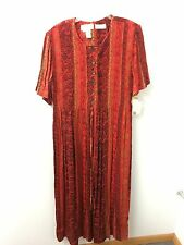 Casual Corner Maxi  Dress 18 XL Red Multi NWT Short Sleeve 100% Rayon $78