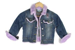 The Little Mermaid Girls Jean Jacket Size Small Disney Purple Faux Fur Trim