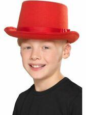 Kids Top Hat Red, Boys Fancy Dress, One Size