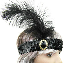 1920's Black Headband Costume Feather Sequin Flapper Headpiece Lady Dance Party
