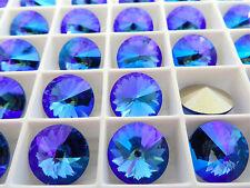 4 Sapphire Glacier Blue Foiled Swarovski Rivoli Stone 1122 12mm