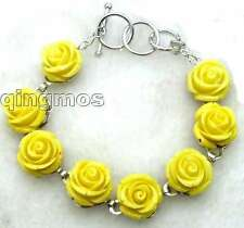 """Fashionable16mm Yellow Rose Coral Adjustable Bracelet for Women 7-8.3"""" b223"""