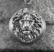 plt Art Nouveau Vtg Victorian Insp Lrg Lion Head Locket Necklace, Antique Silver