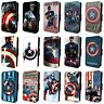 CAPTAIN AMERICA MARVEL FLIP PHONE CASE COVER for SAMSUNG GALAXY S5 S6 S7 S8 S9