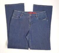 A Line Anne Klein Womens Sz 8 Stretch Blue Jean Denim Wide Leg Cotton Pants EUC