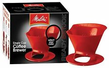 Melitta 64008 Ready Set Joe Single Cup Coffee Brewer Red with Filters