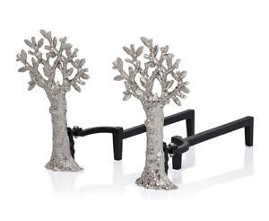 Michael Aram Tree of Life Set of 2 Fireplace Andirons Silver Tone Iron $675 NEW