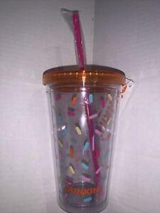 Dunkin Iconic Donut Sprinkles Acrylic Cup Tumbler 16OZ  Orange 2020 Rare