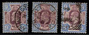 1902 KEVII 3 × SG251 9d Slate-Purple & Ultramarine M39(2) Fine Used CV £225