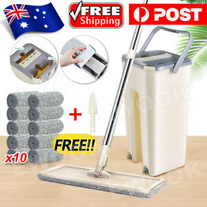Microfiber Flat Mop and Bucket Floor Cleaning Set with Pads 360 Rotatable Head