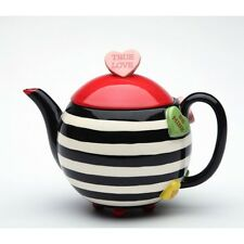 NEW FUNCTIONAL HAPPY HEART STRIPE VALENTINE'S TEAPOT+BOX-3 CUPS,18 OZ-62365