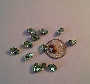 6 Swarovski Oval Rhinestones 8x6mm Chrysolite Jewelry Repair