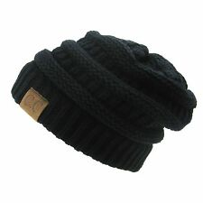 Men Women Plain CC Beanie Cap Slouch Bubble Knit oversize Baggy Winter Ski Hat