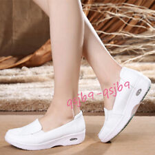 Nurse Leather Wedge Comfort Shoes Nursing Work Shoes Non-slip Hospital Slippers