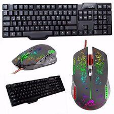 6 Tasten Gaming Maus + Tastatur Set Bundle Gamer Spiele USB Kabel schwarz bunt