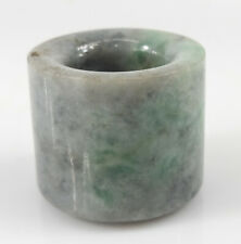 Antique Chinese Carved Jadeite Jade Thumb Archers Ring Banzhi Green Grey