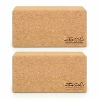 2x Cork Exercise YOGA BLOCKS Brick 2 Set For Fitness Stretching Block Pilates UK