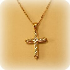 "Diamond Cross Pendant in 9 carat Gold, on 18"" Curb Link Chain"