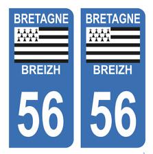 Autocollant Stickers plaque d'immatriculation véhicule département 56 Morbihan 2