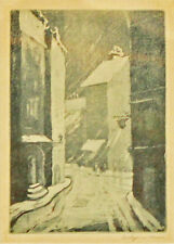 "Evelynne Mess ""Untitled""  7x5"" signed Etching, INDIANA Historic Art"
